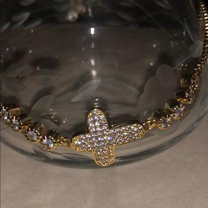 Jewelry - Gold Cross diamond bracelet /slide adjustability
